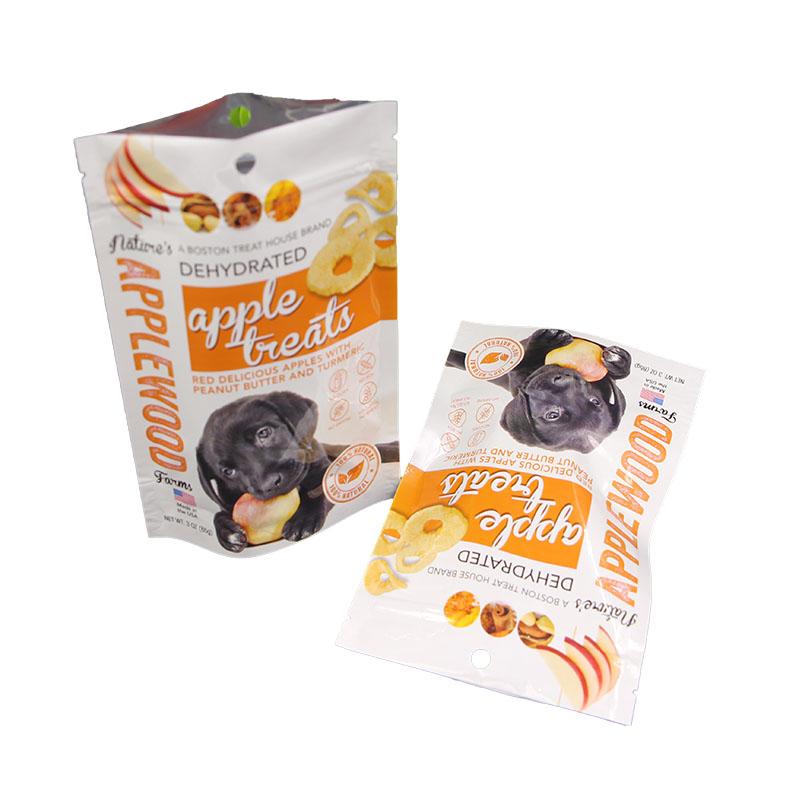 Customized printing aluminum foil lined zipper heat seal circle block pet food bag