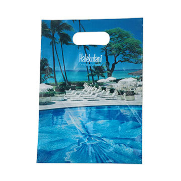 Custom Printing Blue Pouch Handle Plastic Packaging Bags Packed gift and clothe