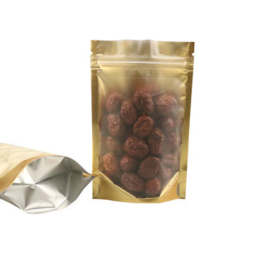 Golden/Clear Open Resealable Aluminium Foil Bag, Plastic Food Storage Heat Sealed Packing Pouches