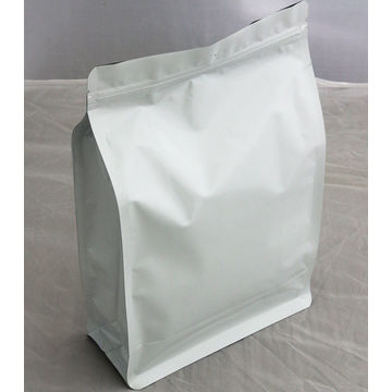 Milk white color bag for food packing with flat bottom plastic bag