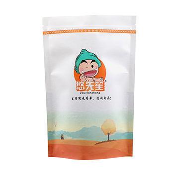 Top zip plastic packaging bag/square bottom plastic food packaging bag/stand up pouch with window