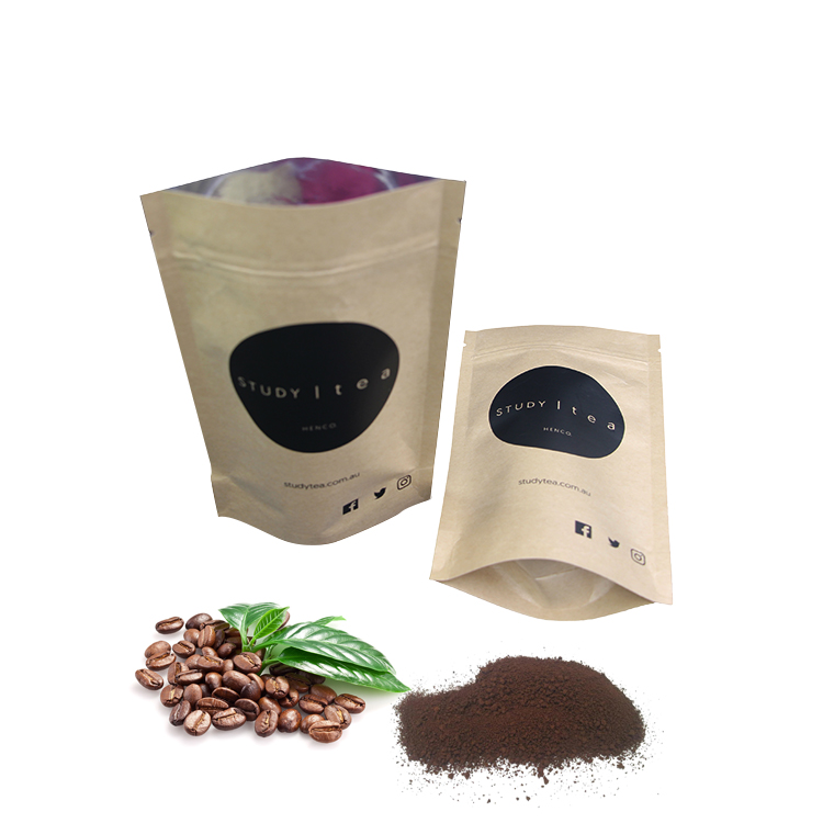 Custom printed stand up zipper food packaging aluminum foil kraft paper coffee bag