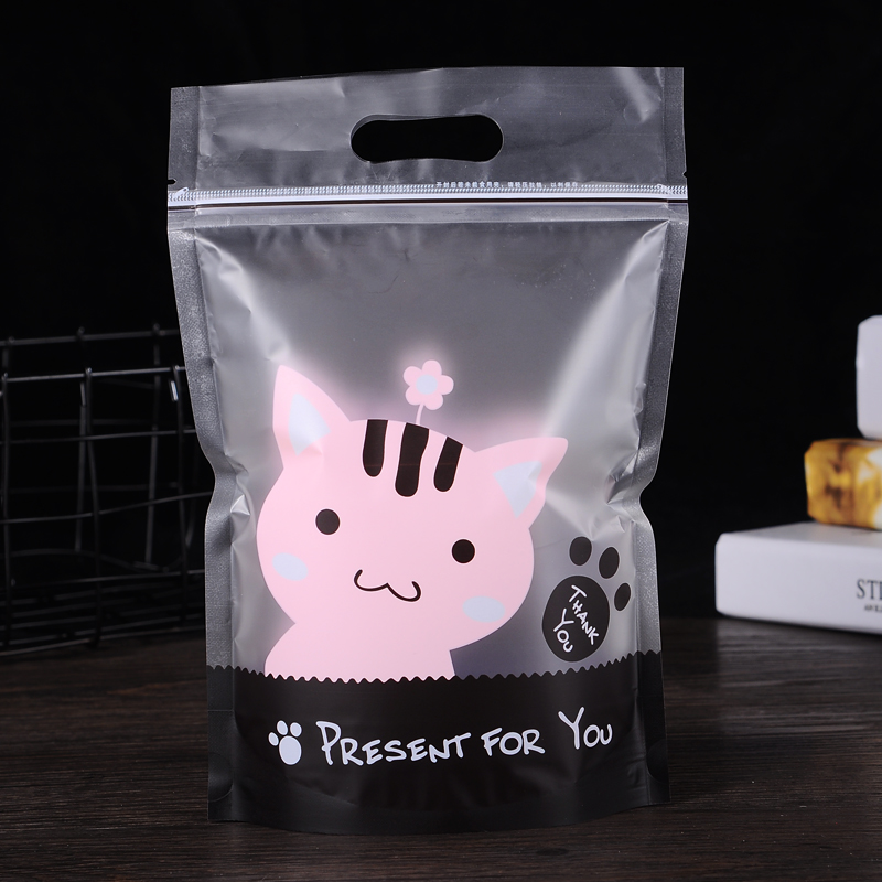 Stand Up Cute Cat Dog Frosted Cookie Zip Lock Bag Plastic Packaging For Food Tea Candy Baking