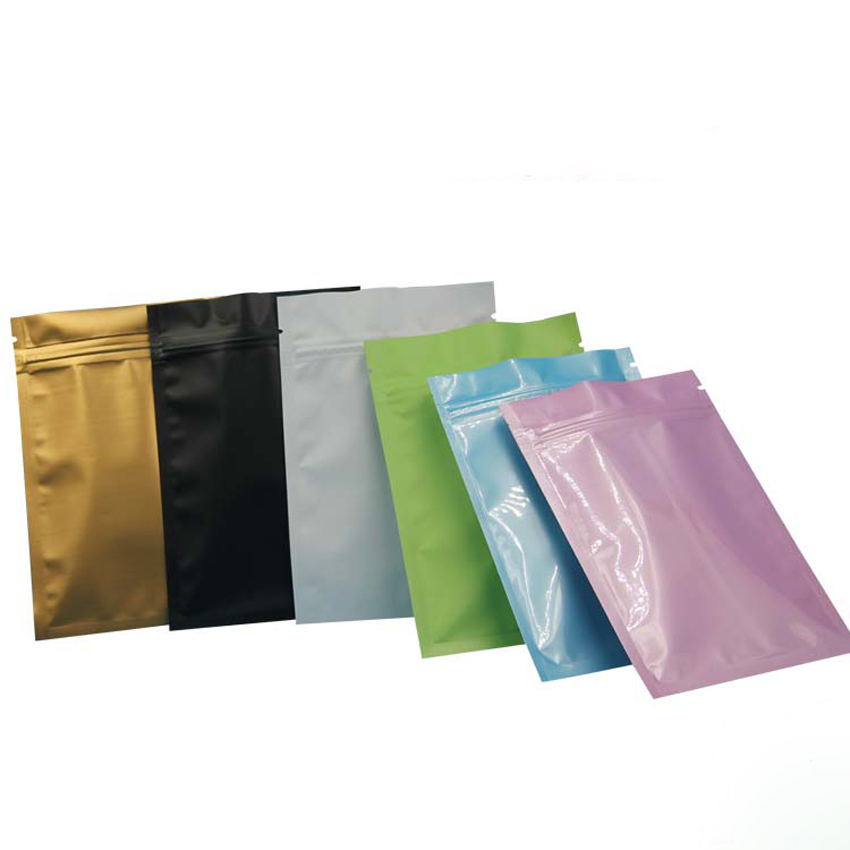 4sizes 7colors Matte/glossy Stand Up Aluminium Foil Zip Lock Bag Gift Packaging Powder/tea Packing Retail Package