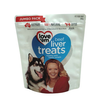 Pet Food Packaging bag standing pouch with reusable zip lock plastic bag