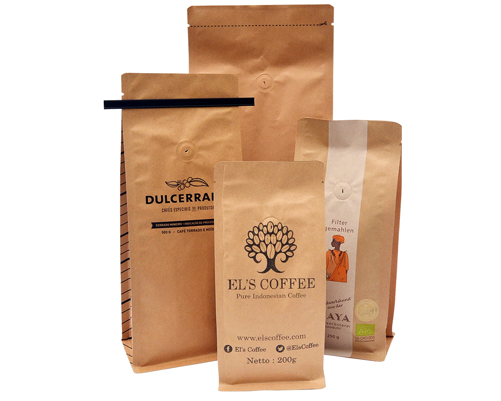 Reusable Kraft Paper Coffee Bags With Valve