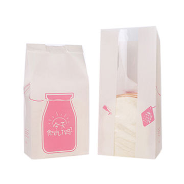 High quality white packaging bread bag/customized printed paper bag with pe film window open