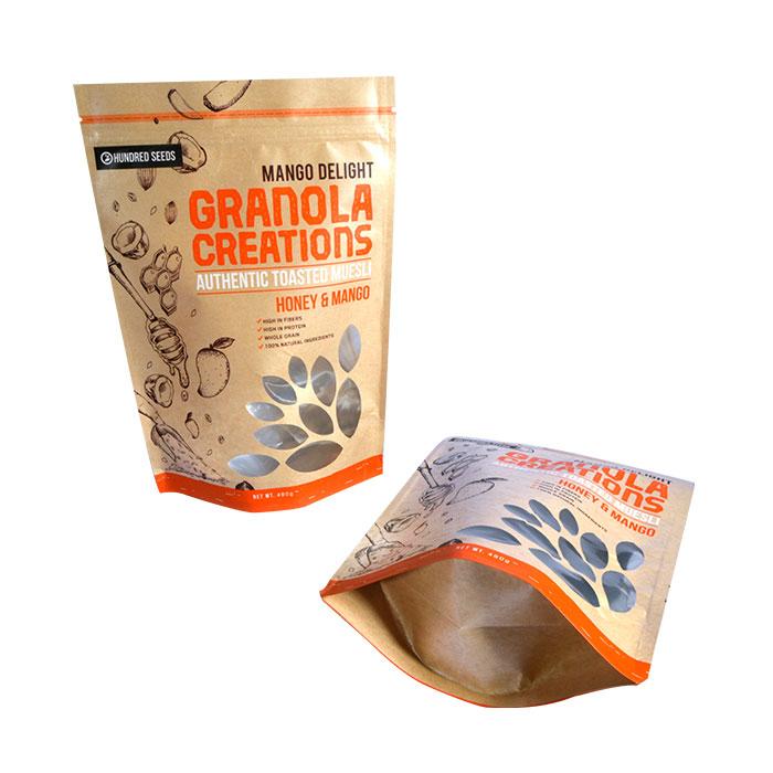 Flat Bottom Side Gussets Kraft Paper Bag for Food Packing