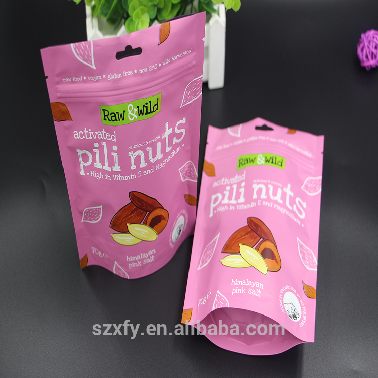 Stand Up Ziplock Nuts And Dried Fruits Packaging Plastic Bag For Food