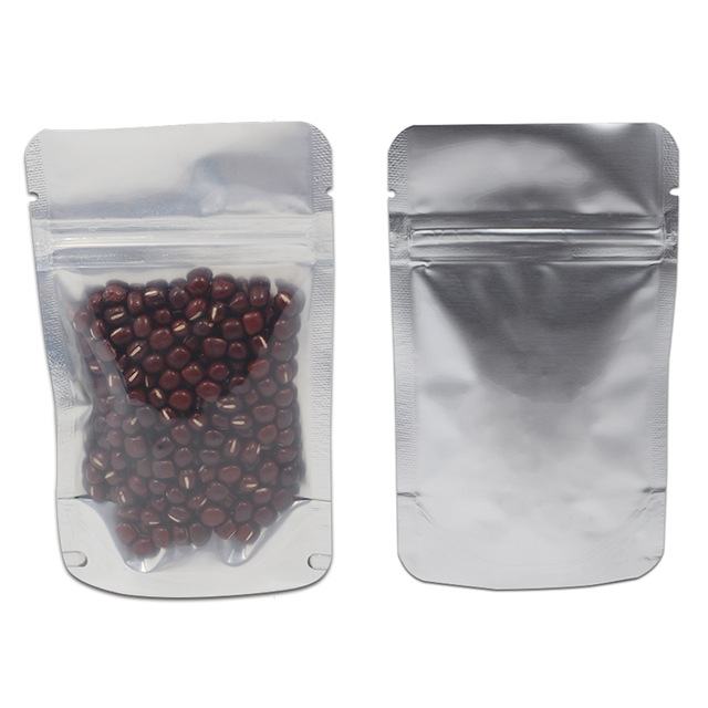 Clear / Silver Stand Up Pure Aluminum Foil Plastic Packing Bags Mylar Foil Grip Seal Food Ziplock Package Bag