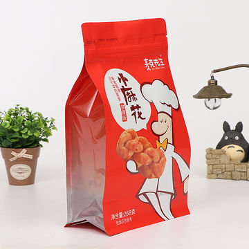 Customized biodegradable plastic food packaging bags,flat bottom stand up pouch, zip lock bag