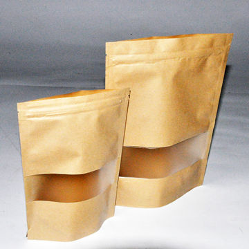 Factory supplier no printing resealable stand brown paper bag with transparent window