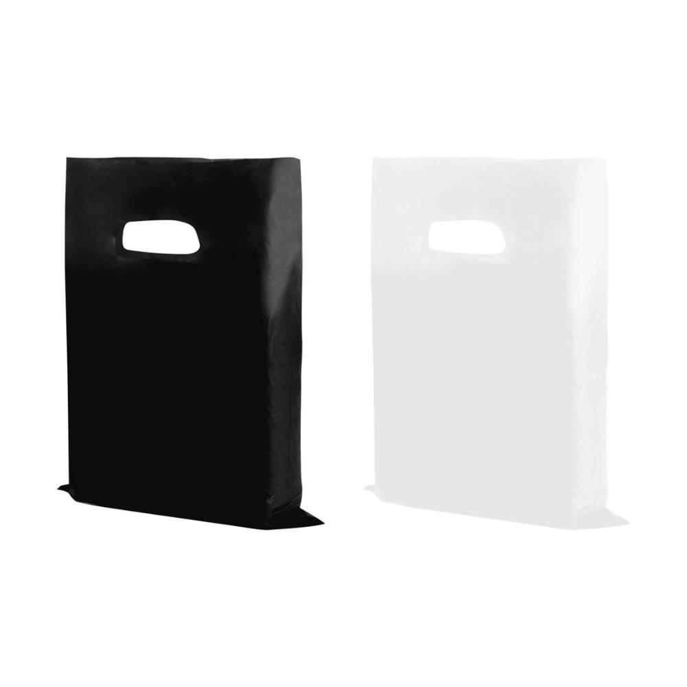 Shopping Goodie Bag, handle bag, for book, clothe,shoes, black or white plastic bag