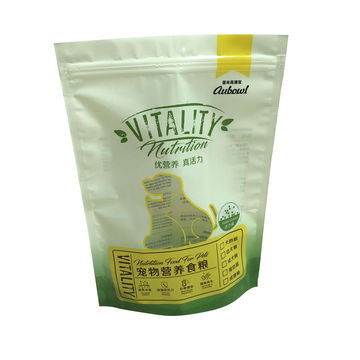 Plastic food packaging bag standing Pet food packaging with reusable zipper plastic bag