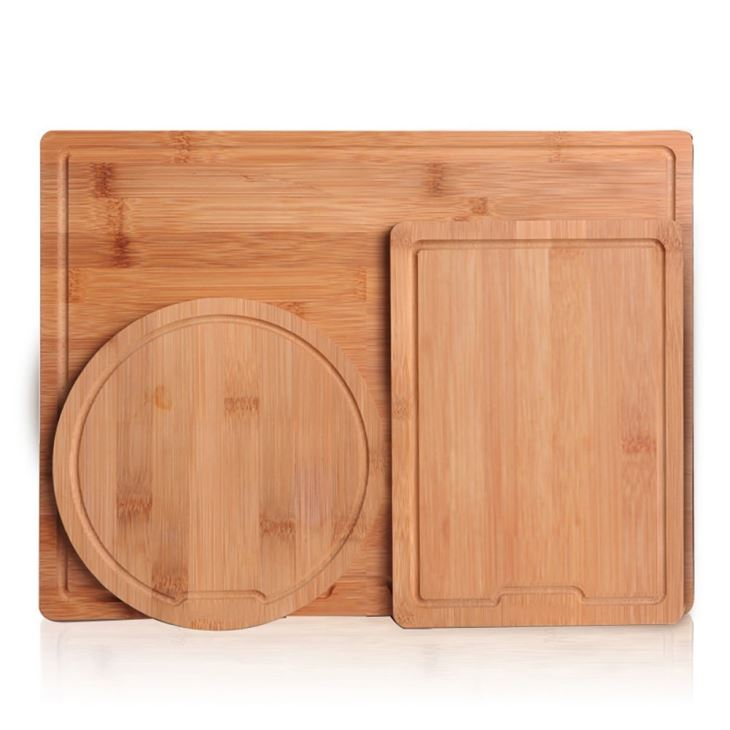 3 Pieces Bamboo Cutting Board Set, Chopping Board With Drip Groove For Food Prep, Meat, Vegetables, Bread, Fruit, Crackers