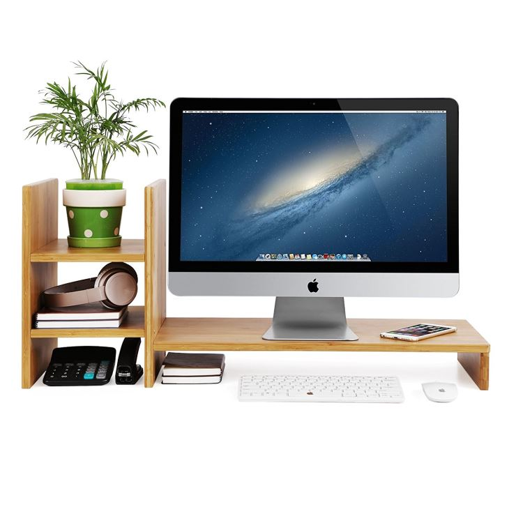 Bamboo Monitor Stand Riser With 2-tier Desktop Storage Organizer For Home Office