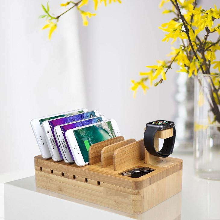 Eco-Friendly Bamboo Multi-device Charging Station Organizer With Apple Watch Stand