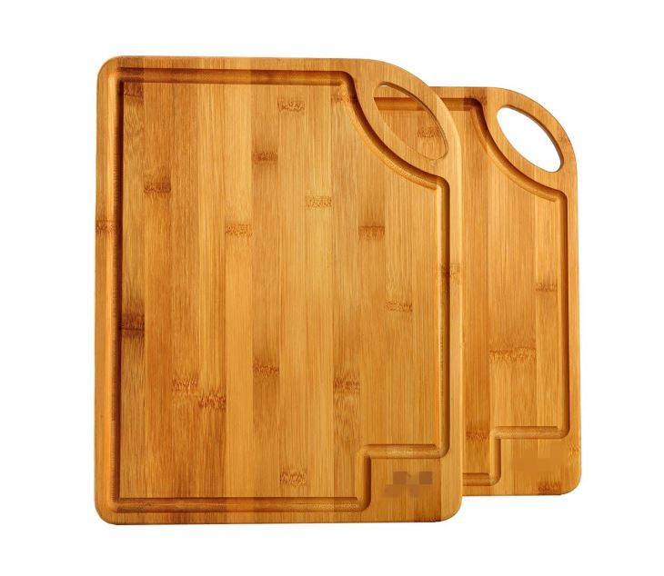 Organic Bamboo Cutting Board Set With Handle Kitchen Chopping Board With Drip Groove