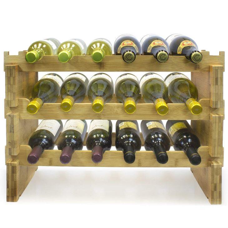 3-Tier Stackable Bamboo Wine Rack