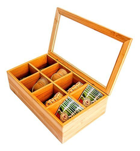 8 Sections Bamboo Wood Tea Box With Clear Lid