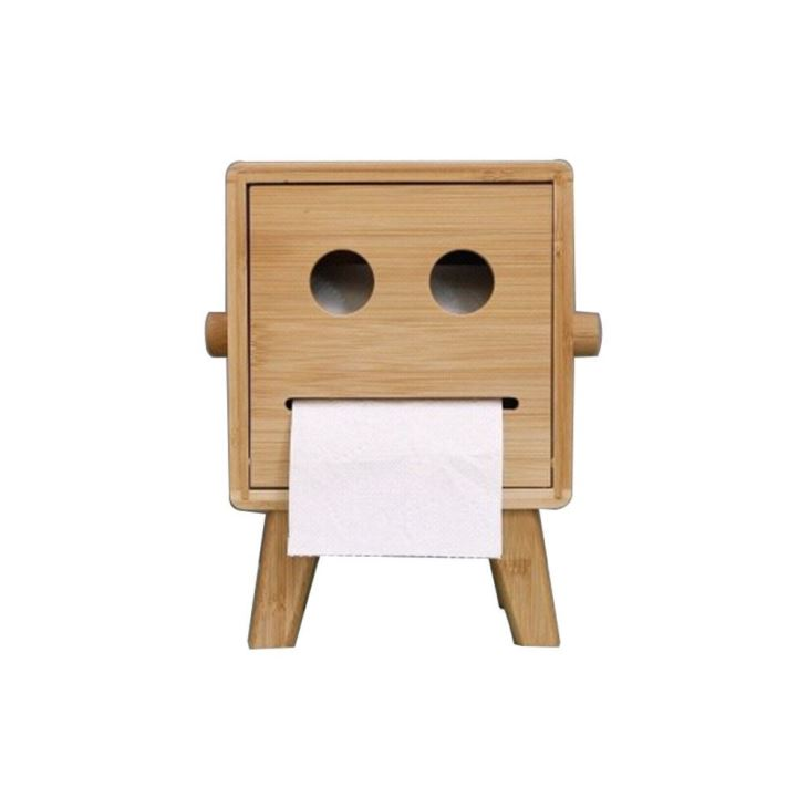 Bamboo Cute Robot Tissue Box Holder