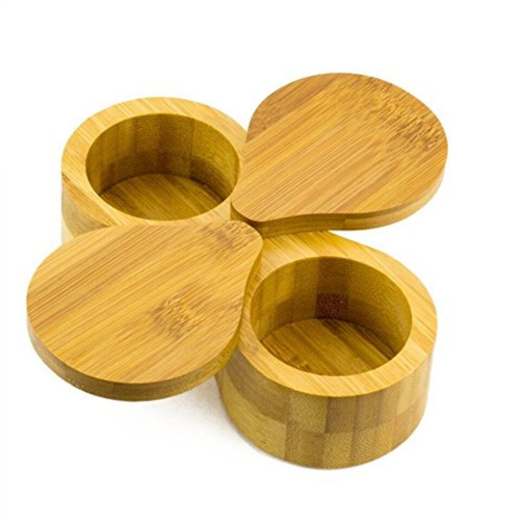 Bamboo Double Round Salt And Pepper Box