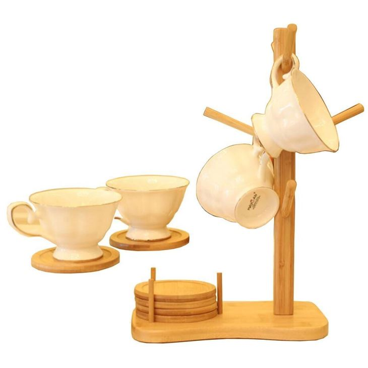 Bamboo Hanging Stand With 6 Coaster