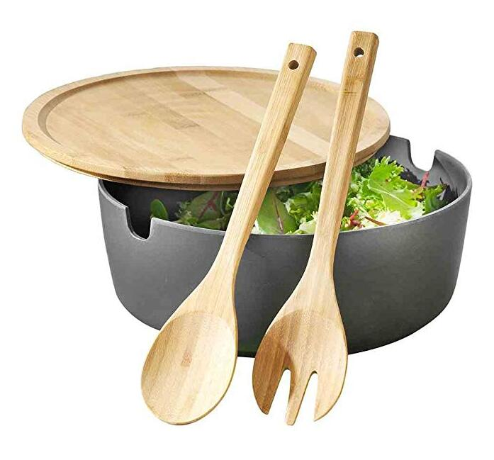 Bamboo Salad Bowl Plastic Mixture
