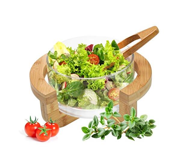 Bamboo Salad Bowl With Salad Servers And Frame