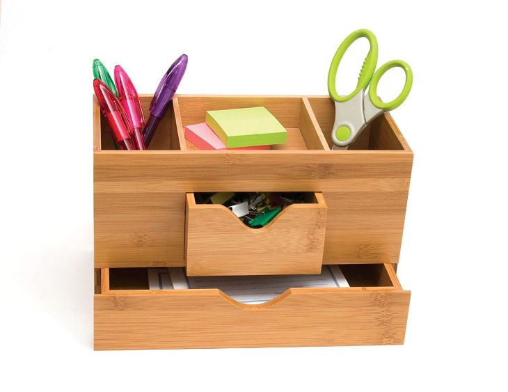 Bamboo Wood 3-Tier Desk And Office Supply Organizer