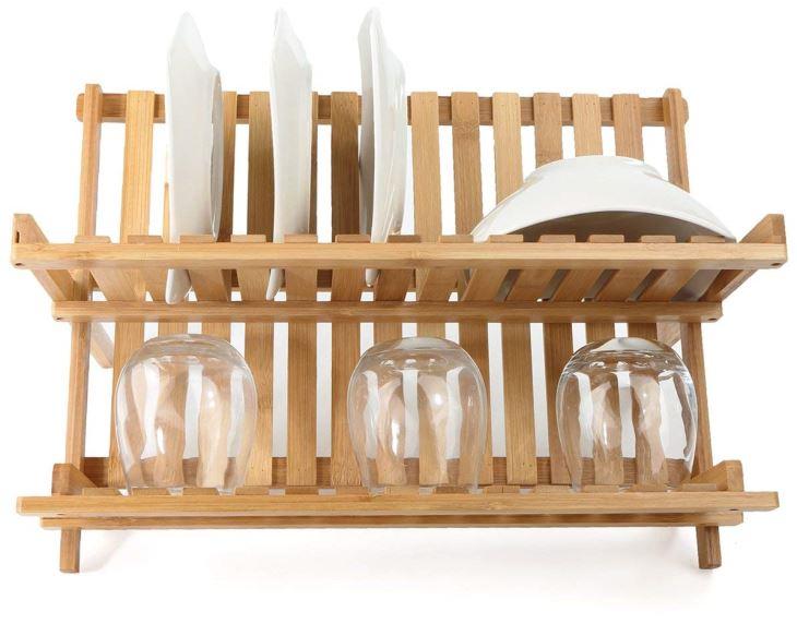 Collapsible Dish Drying Rack Bamboo