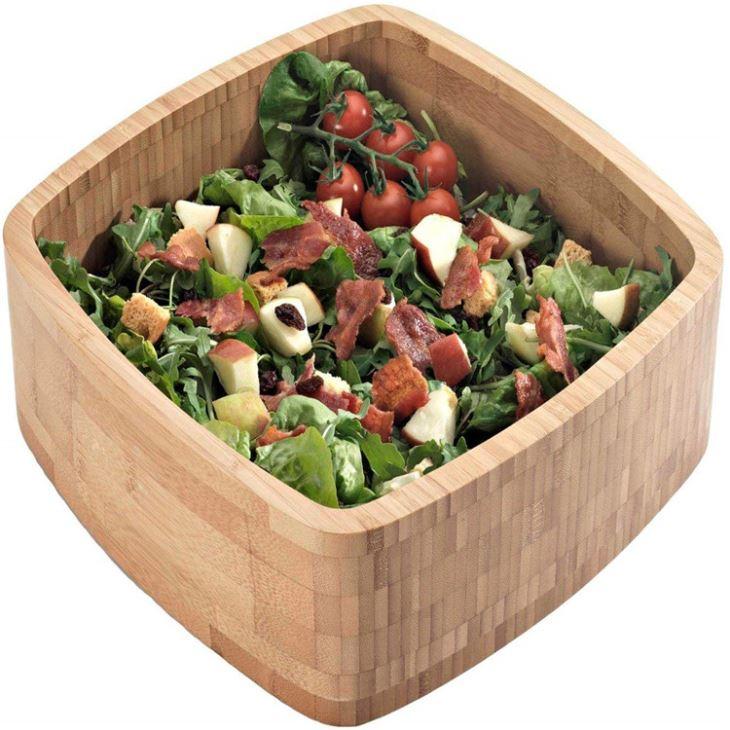 Large Square Bamboo Salad Bowl