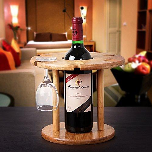 Natural Bamboo Wine Glass Holder For 6 Glasses