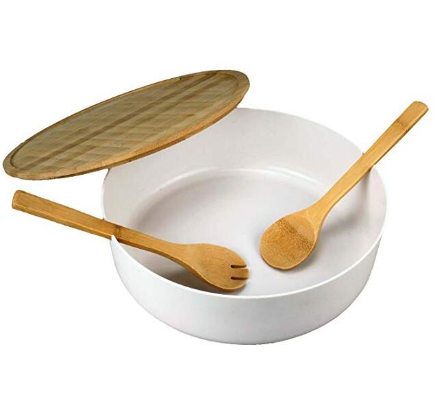 Salad Bowl With Bamboo Lid And Servers