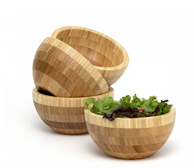 Set Of 4 Bamboo Wood Salad Bowl