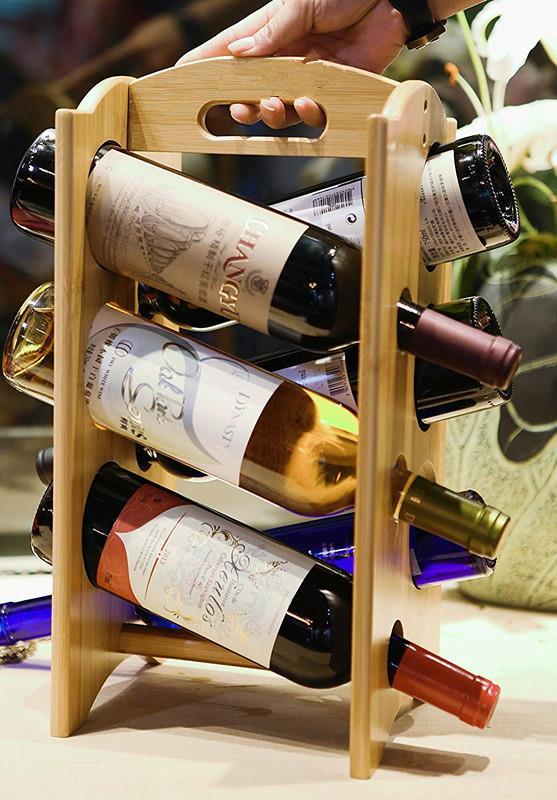 Wine Racks Countertop Bamboo 6 Bottle